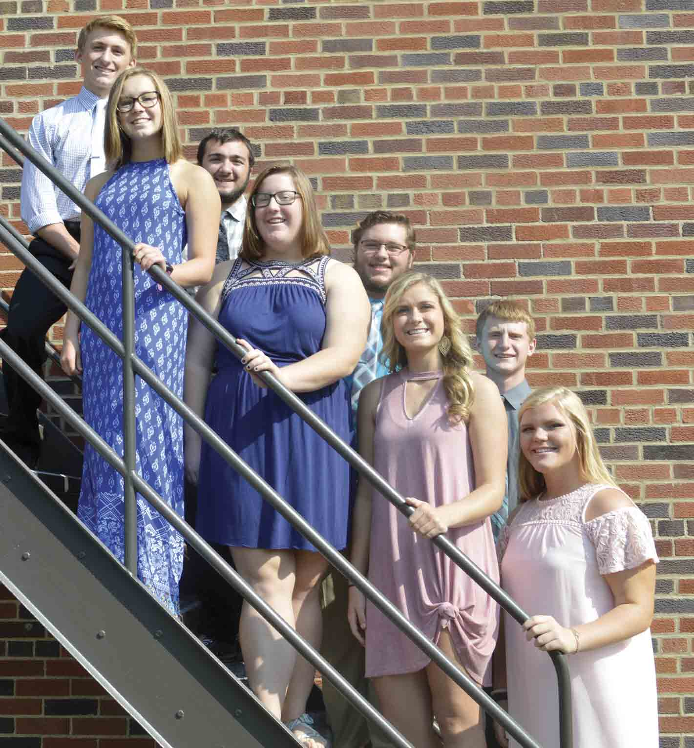 Candidates for South Winneshiek High School's 2017 Homecoming King and Queen include (front, l-r) Madisen Ondrashek, Cassidy Frana, Jaden Schweinefus, and Alexa Jacobsen; (back) Noah Faldet, Wyatt Trezona, Jackson Lukes, and Josh Lensing. (Zakary Kriener photo) 	South Winn...