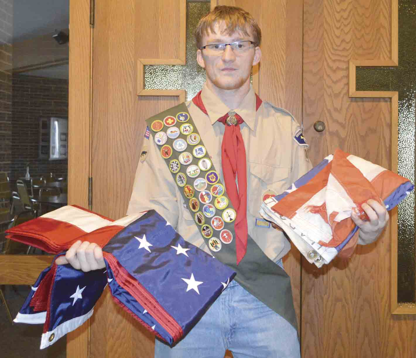 Jacob Ling, a longtime Scout, recently completed his Eagle Scout project. The South Winneshiek High School senior purchased and replaced 25 tattered and faded flags at Calmar Lutheran Church. (Zakary Kriener photo)Eagle Scout project flying highZakary Kriener...