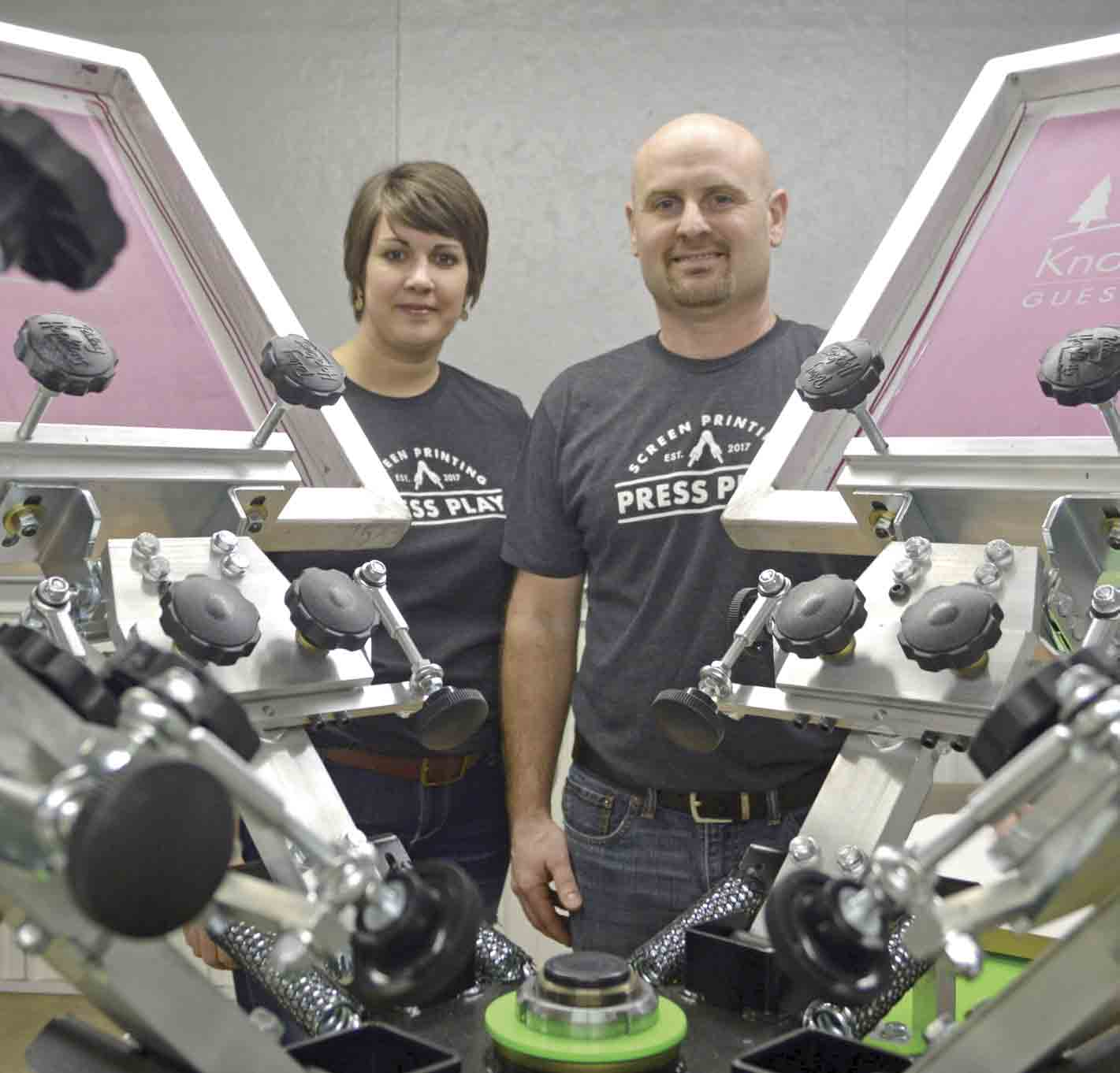 """Stacy and Jeremy Merrill of rural Fort Atkinson are excited about pressing """"play"""" on their new business adventure. The local couple recently opened the doors on the new screen printing business, fittingly named Press Play. (Zakary Kriener photo)Merrills 'Press..."""